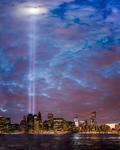 New York City -The Two beams of light are coming from where the Twin Towers use to stand before they were hit by planes piloted my terrorists! World Trade Center, Places Around The World, Around The Worlds, Beautiful World, Beautiful Places, 11 September 2001, Hampshire, Wyoming, Iowa