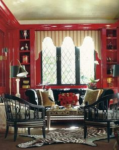Fantastic Red and Black Living Room
