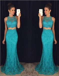 Long Lace Prom Dress Evening Dress in 2 Pieces pst0633 on Storenvy