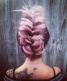 Messy Updo Messy Braid by Lapomponnee Salon Brigitte Bardot inspired Lilac Hair…