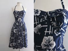 1950s Hawaiian Dress / Vintage 50s Navy Blue White Hibiscus Asian Floral Tropical Full Skirt Cotton Halter Dress/ Pin Up Rockabilly - XXS/XS on Etsy, $152.22 AUD