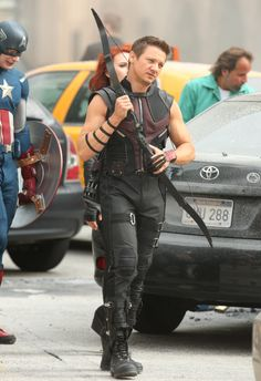 Jeremy Renner as Hawkeye on the set of Avengers