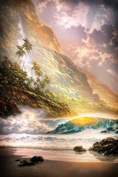 """This painting looks like a perfect depiction of paradise to me. """"This marvelous painting can be found in the Visitor Center of the Latter-Day Saints' temple in Laie (Oahu), Hawaii."""" I must got there one day to see it for myself - definitely! Landscape Art, Landscape Paintings, Wolf Canvas, Beautiful Paintings, Amazing Nature, Strand, Nature Photography, Beautiful Places, Paradise"""