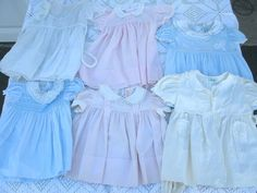 1940-50's  Infant  Dresses by *Alfred Leon*  6 Pcs -- Delicate Vintage Original