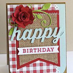 card MFT heirloom flower red MFT flourish MFT jumbo banner burlap paper fabric scripty words happy Birthday card MFT gingham background stamp  MFT Die-namics  #mftstamps