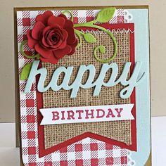 card MFT heirloom flower red MFT flourish MFT jumbo banner burlap paper fabric scripty words happy Birthday card MFT gingham background stamp  MFT Die-namics  #mftstamps