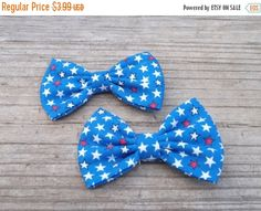 ON SALE Patriotic Hair Bow, Red, white and blue stars hair bow. 4th of July Pigtail Bow, Independence Day Hair Bow, Fabric Bow Depot Pigtail - pinned by pin4etsy.com