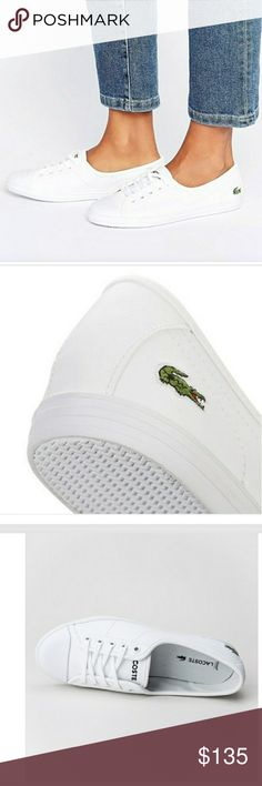 NIB LACOSTE white leather women's sneakers 8 Plimsolls by Lacoste, Leather upper, Lace-up fastening, Branding to back, Toe-cap design, Shaped cuff, Textured tread, 100% Real Leather Upper. Has ortholite technology for that perfect cushioned feel! This style is SO RARE TO FIND! Fits a US size 8. Lacoste Shoes Sneakers