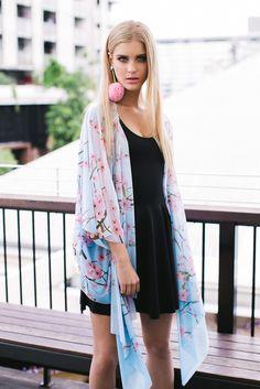 Street Style | Cherry Blossom Blue Kimono by Black Milk Clothing