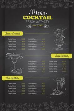 Menue Design, Most Popular Cocktails, Hookah Lounge, Coffee Menu, Cocktail Menu, Cover Design, Illustration, Chalkboard, Shots