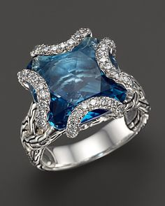 John Hardy Batu Classic Chain Sterling Silver Medium Braided Ring with London Blue Topaz and Diamonds | Bloomingdale's