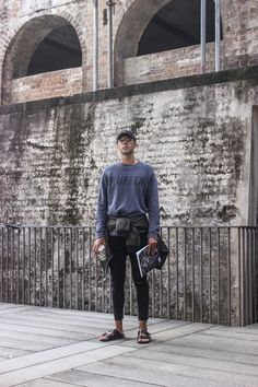 Mens Fashion Style & Outfit inspo by Blogger MR TURNER. Huffer sweater, Guess Khaki bomber jacket, A Brand skinny crop jeans, Birkenstock shoes. Featuring Man of the World magazine.
