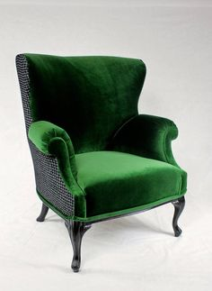 Available Vintage Round Wing Back Chair With Green Velvet And Black Gray Oak