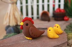 Polymer Chicken and Chicks Miniature Chicken Mini by GnomeWoods