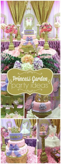 What a gorgeous pink, purple an gold princess garden party! See more party ideas at CatchMyParty.com!
