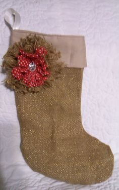 Burlap handmade Christmas stocking with a burlap and cotton shabby chic flower and ribbon to hang up on the mantle for Santa! Check out this and my other items in my Etsy shop or contact me for a special personalized item. https://www.etsy.com/shop/SewUniqueBagsetc