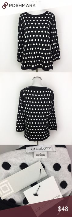 "Liz Claiborne NWT Black White Polka Dot Sweater •Liz Claiborne NWT Black White Polka Dot 3/4 Sleeve Sweater •Women's Size Large •New with tags; never worn •100% Cotton •All measurements are approximate: 24"" length, 19.5"" across chest, 13"" sleeve length Liz Claiborne Sweaters"