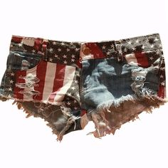 Sexy Denim 4th of July USA shorts  Get summer ready with these short, short denim! Different tears, ripped, torn styles around denim short. BRAND NEW IN PLASTIC W/O Tag. (Did not come w/tag) Shorts Jean Shorts