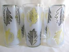 vintage libbey yellow and black leaf glasses - Google Search