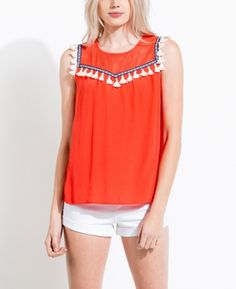 Our pick for GAMEDAY! The Orange Fringe Trim Mesh Tank has navy detail with a fringe accent. - 52% Rayon 48% Viscose * Model is wearing a Size S