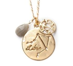 Horoscopes make a perfect Birthday Present for friends or family! Libra Necklace in Gold $22