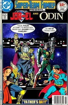 Super-Team Family: The Lost Issues!: Jor-El and Odin. Only the Dads of my two favorite superheroes EVER! (Throw Loki in and I'm SET. Vintage Comic Books, Marvel Comic Books, Vintage Comics, Comic Book Heroes, Comic Books Art, Comic Art, Book Art, Marvel Vs, Marvel Comics Superheroes