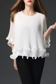 CHICPICCO - Chiffon Pleated Blouse