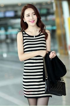 Candy Color Two Pieces Set Striped Mini Dress Casual Dresses