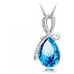 Rhinestone Crystal Water Drop Pendant Necklace For Women ($5) ❤ liked on Polyvore featuring jewelry and necklaces