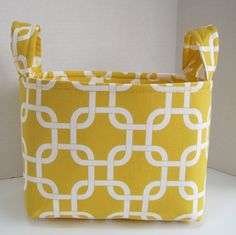 Large Yellow and White Mod Fabric Basket by toocuteoriginals, $20.00