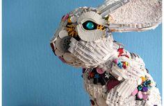 Robert Bradford recycled toy sculpture Art From Recycled Materials, Recycled Toys, Recycled Art, Repurposed, Rabbit Sculpture, Sculpture Art, Abstract Sculpture, Art Jouet, Art Environnemental
