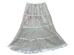 Beach Wear White Skirt Dot Print Lace Work Cotton Maxi Skirts