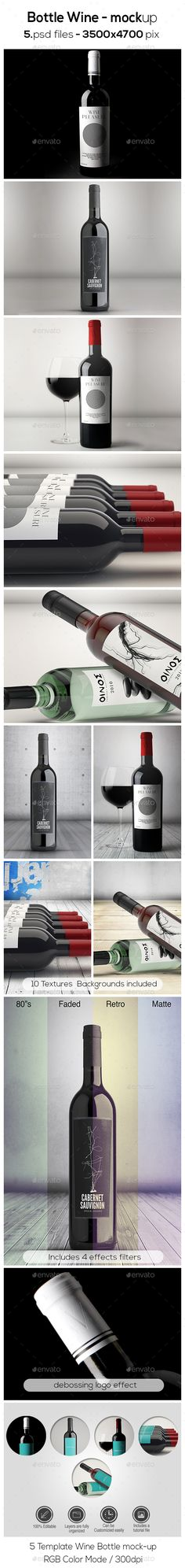 Bottle Wine Mock-up #design Download: http://graphicriver.net/item/bottle-wine-mockup/13641021?ref=ksioks