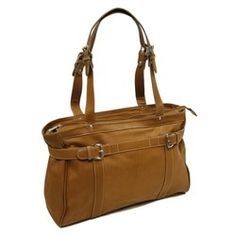 LEATHER BELTED COMPUTER TOTE