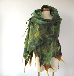 Cobweb Felted scarf - Green forest. $83.00, via Etsy.