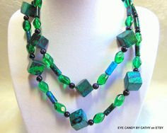 Long necklace in turquoise green navy blue by EyeCandybyCathy on ETSY, $43.50