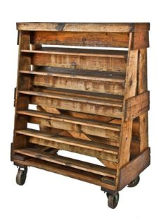 c. 1930's vintage industrial reinforced pine wood a-frame double-sided cart containing evenly spaced shelves and cast iron casters