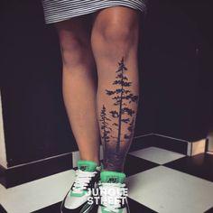 Forest tree leg tattoo #junglestreet