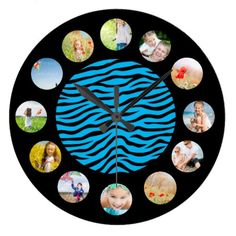 Bright Blue Black Zebra Animal Print Photo Collage Large Clock find more personalized clocks at www.mouseandmarker.com