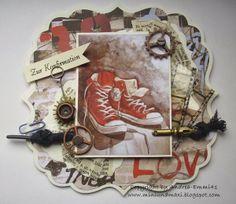 Konferkarte Teenager, Mini, Frame, Cards, Vintage, Daughters, Communion, Trainer Shoes, Picture Frame