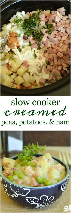 Slow Cooker Creamed Peas, Potatoes, and Ham is a super quick and easy version of a hearty and comforting classic your grandma used to make!…: