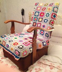 Granny squares crochet covering my nursing chair