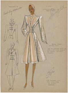 1930s - André - Three piece reefer suit. From New York Public Library Digital Collections.
