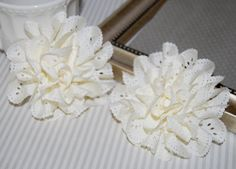 "This pretty cream flower would look great for summer with light pink, light coral, or aqua elastic - set of 2 Eyelet Chiffon Flowers  Ivory Cream 3"" soft fabric flower - Teri Blossom"