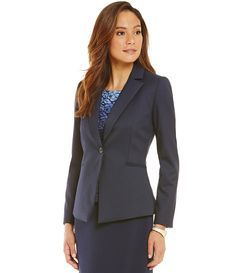 Navy and black glen plaid blazer/ office chic/ work wear suit style/ matching skirt and pant/ business professional fashion
