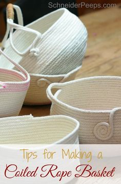 for Making Coiled Rope Baskets Rope baskets can be a great diy project. Here are a few tips to get you started.Rope baskets can be a great diy project. Here are a few tips to get you started. Rope Crafts, Easy Diy Crafts, Creative Crafts, Crafts To Make, Rope Basket, Basket Weaving, Fabric Crafts, Sewing Crafts, Fabric Bowls