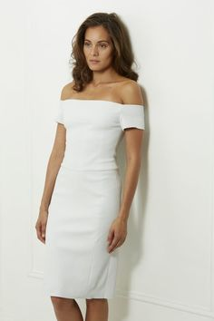 aa27927ae5ac OFF-THE SHOULDER DRESS – WHITE Made of stretch leather Lined in stretch  silk at