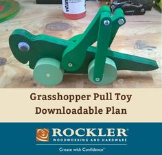 Grasshopper Pull Toy Downloadable Plan - All you need is a few scraps of wood and some dabs of paint. Almost any kind of wood will do for a small toy like this.