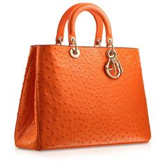 """DIORISSIMO Orange ostrich """"Diorissimo"""" bag with mandarin inside. ❤ liked on Polyvore"""