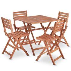 Garden Patio Dining Set Table Chairs Wooden Outdoor Garden Patio Furniture 5PC | eBay